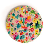 Ninola Design Abstract Flowers Jungle Cutting Board Round