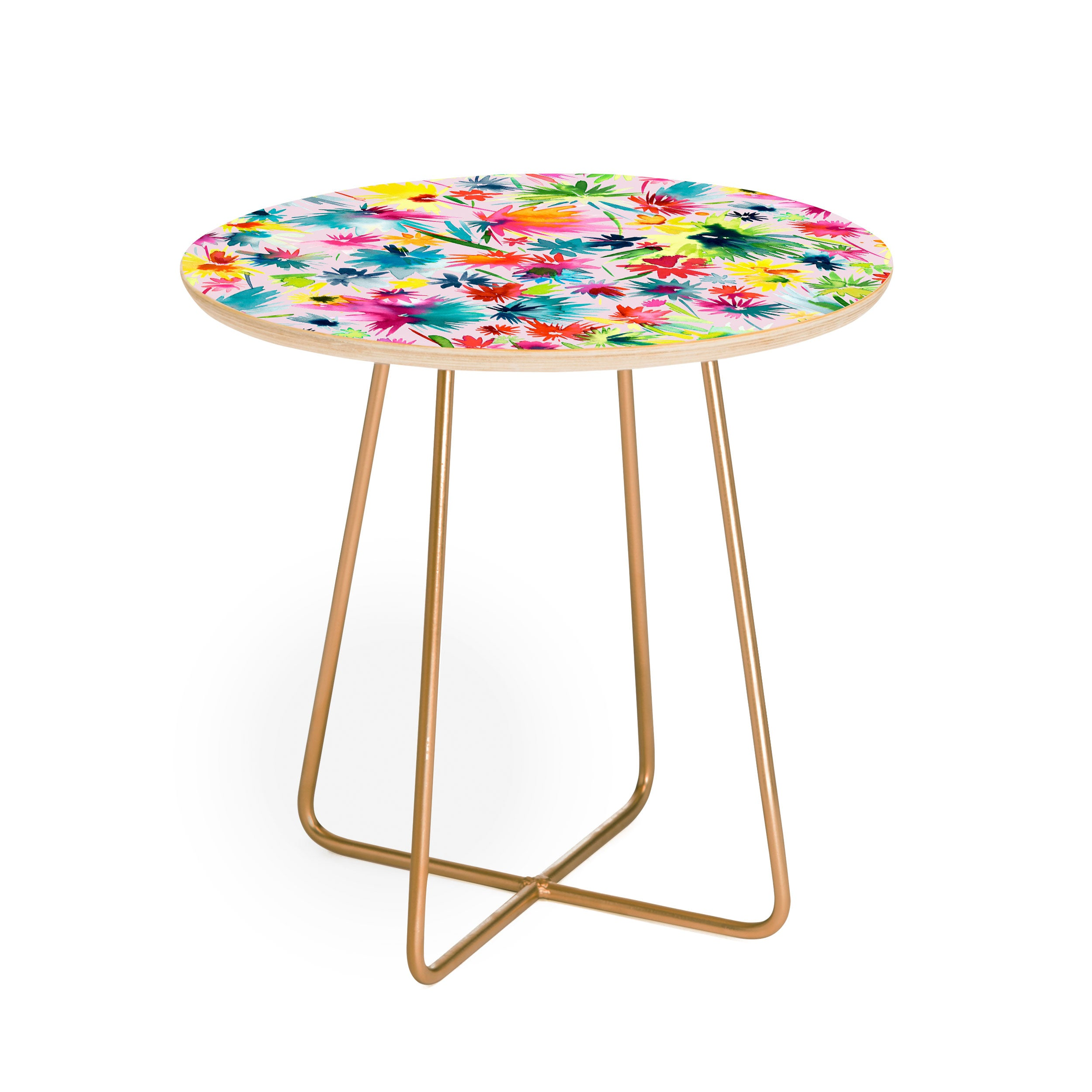 Ninola Design Abstract Flowers Jungle Round Side Table