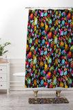 Ninola Design Abstract Flowers Neon Jungle Shower Curtain And Mat