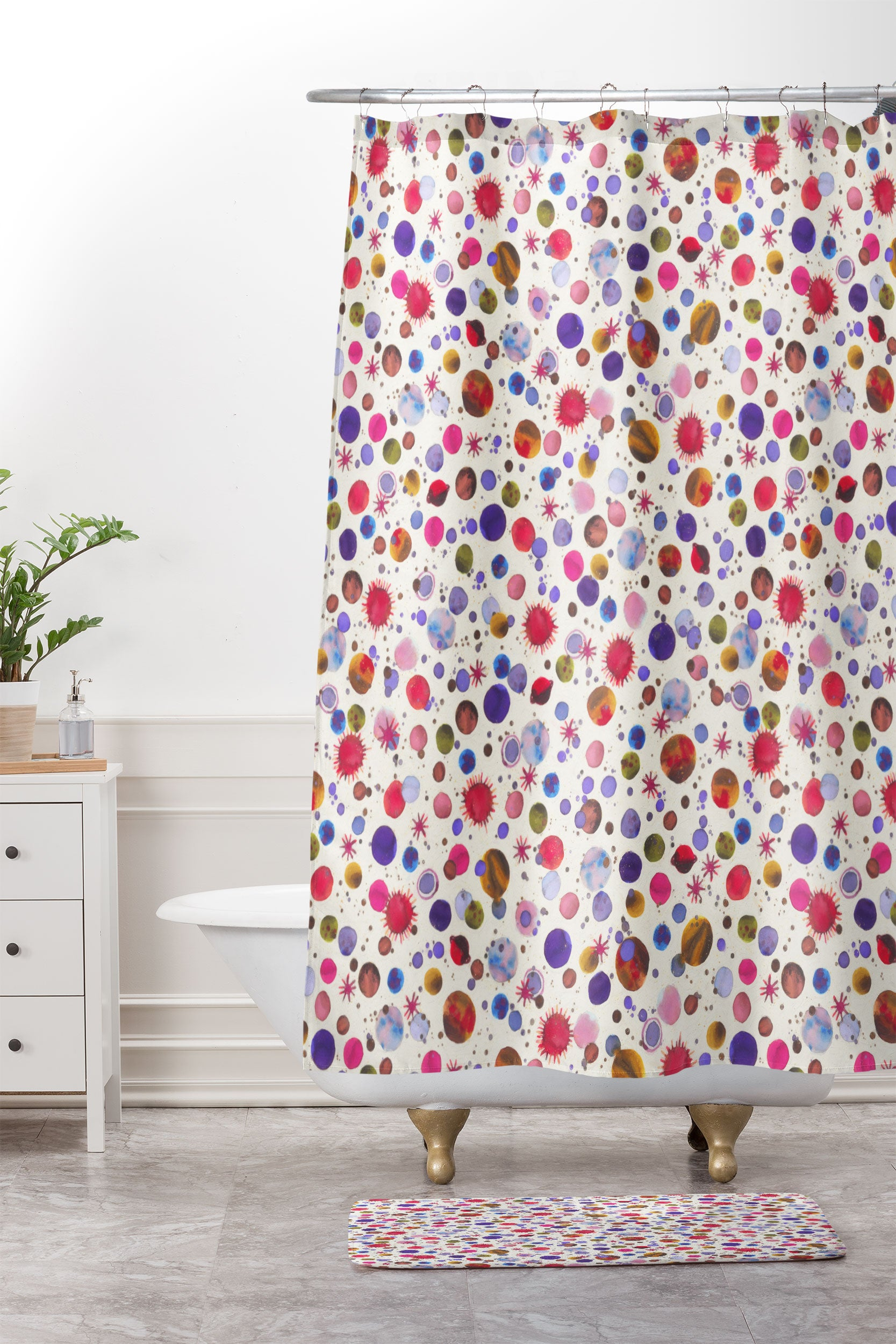 Ninola Design Cosmic Galaxy Constellation Dots Planets Shower Curtain And Mat