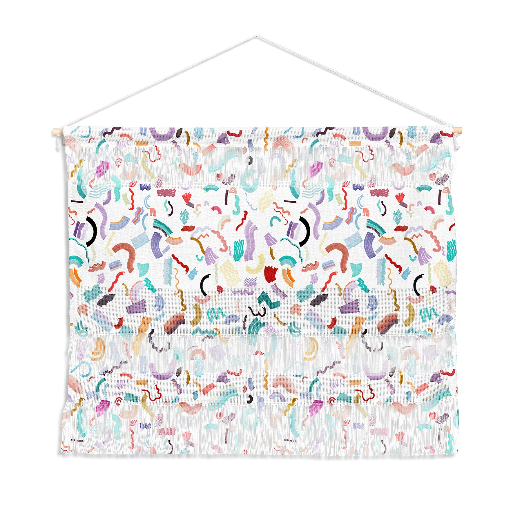 Curly And Zigzag Stripes Marker Drawing Wall Hanging