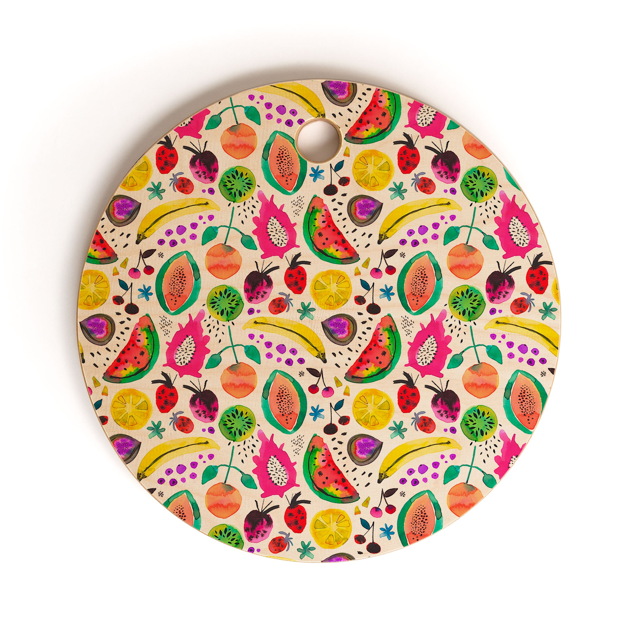 Ninola Design Fruits Pitaya Papaya Pawpaw Cutting Board Round