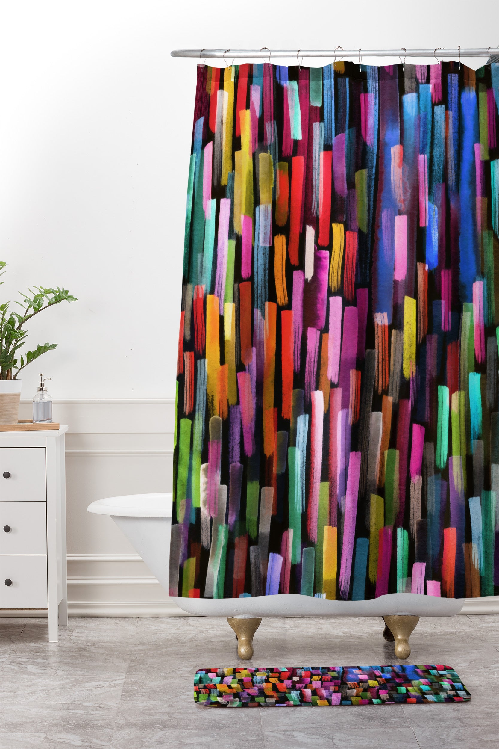 Modern Colorful Brushstrokes Painting Stripes Shower Curtain