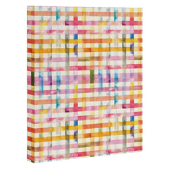 Ninola Design Multicolored gingham squares watercolor Art Canvas