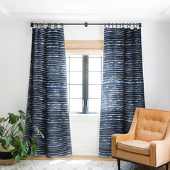 Ninola Design Navy ink stripes Blackout Window Curtain