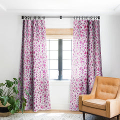 Ninola Design Tropical Flowers Watercolor Pink Blackout Window Curtain