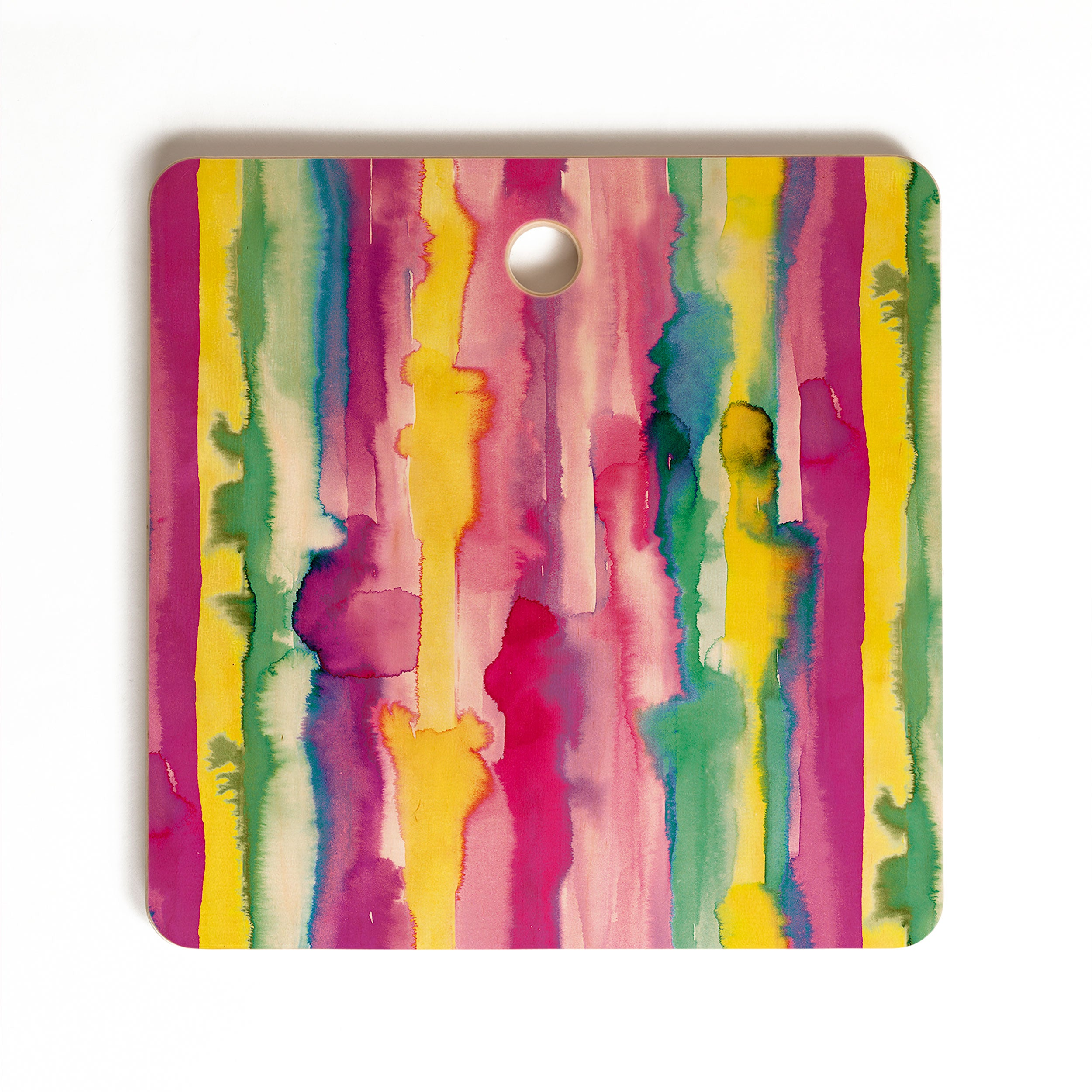 Ninola Design Watercolor Tropical Lines Cutting Board Square