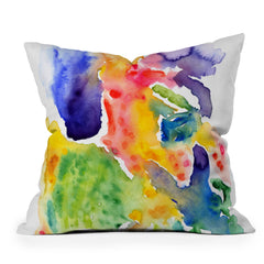 Olivia St Claire Happy Watercolor Throw Pillow
