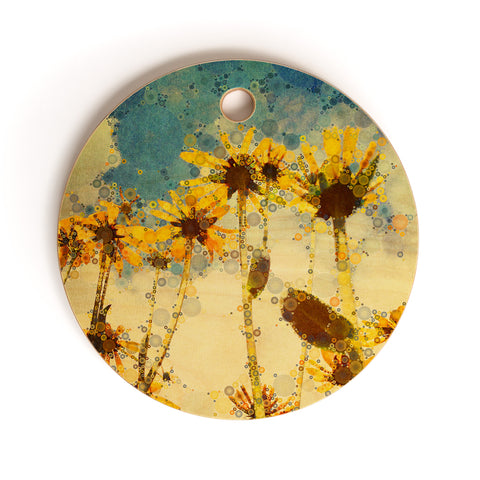 Athappy yellow flowers art products deny designs happy yellow flowers cutting board round mightylinksfo