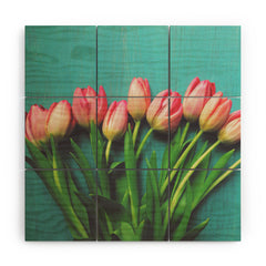 Olivia St Claire Lovely Pink Tulips Wood Wall Mural