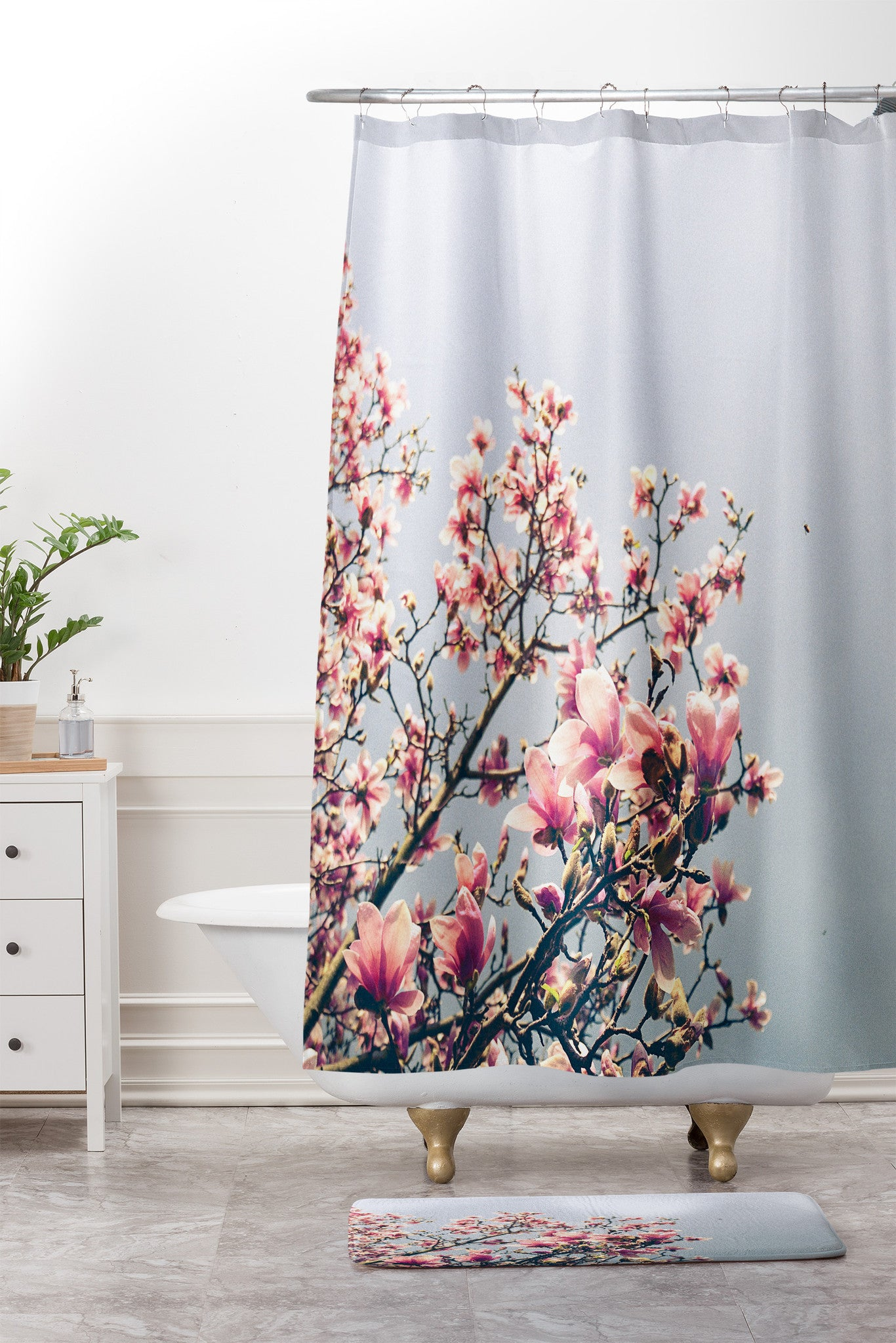 Pink Magnolia Shower Curtain And Mat By Olivia St Claire