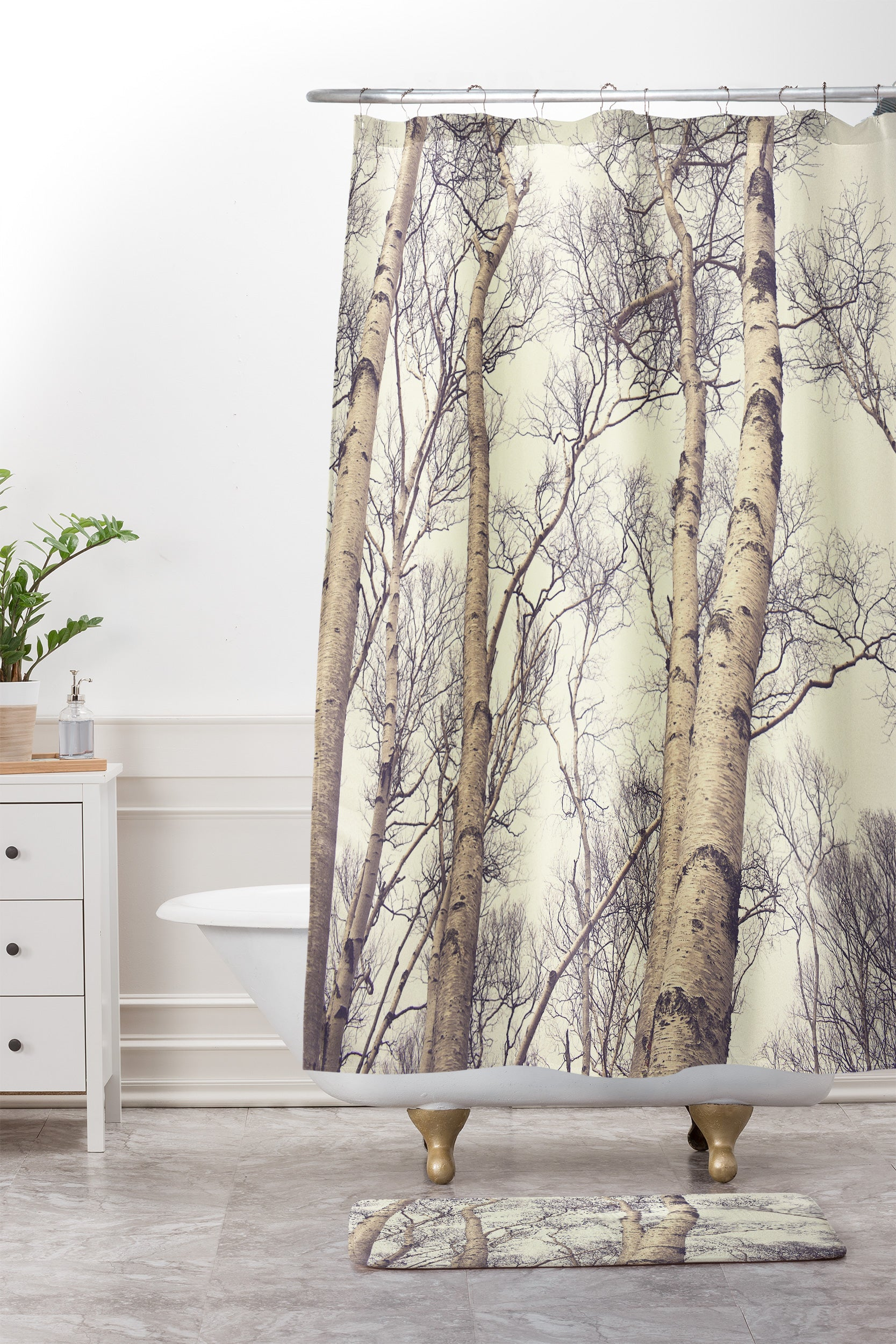 Olivia St Claire Winter Birch Trees Shower Curtain And Mat