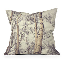 Olivia St Claire Winter Birch Trees Throw Pillow
