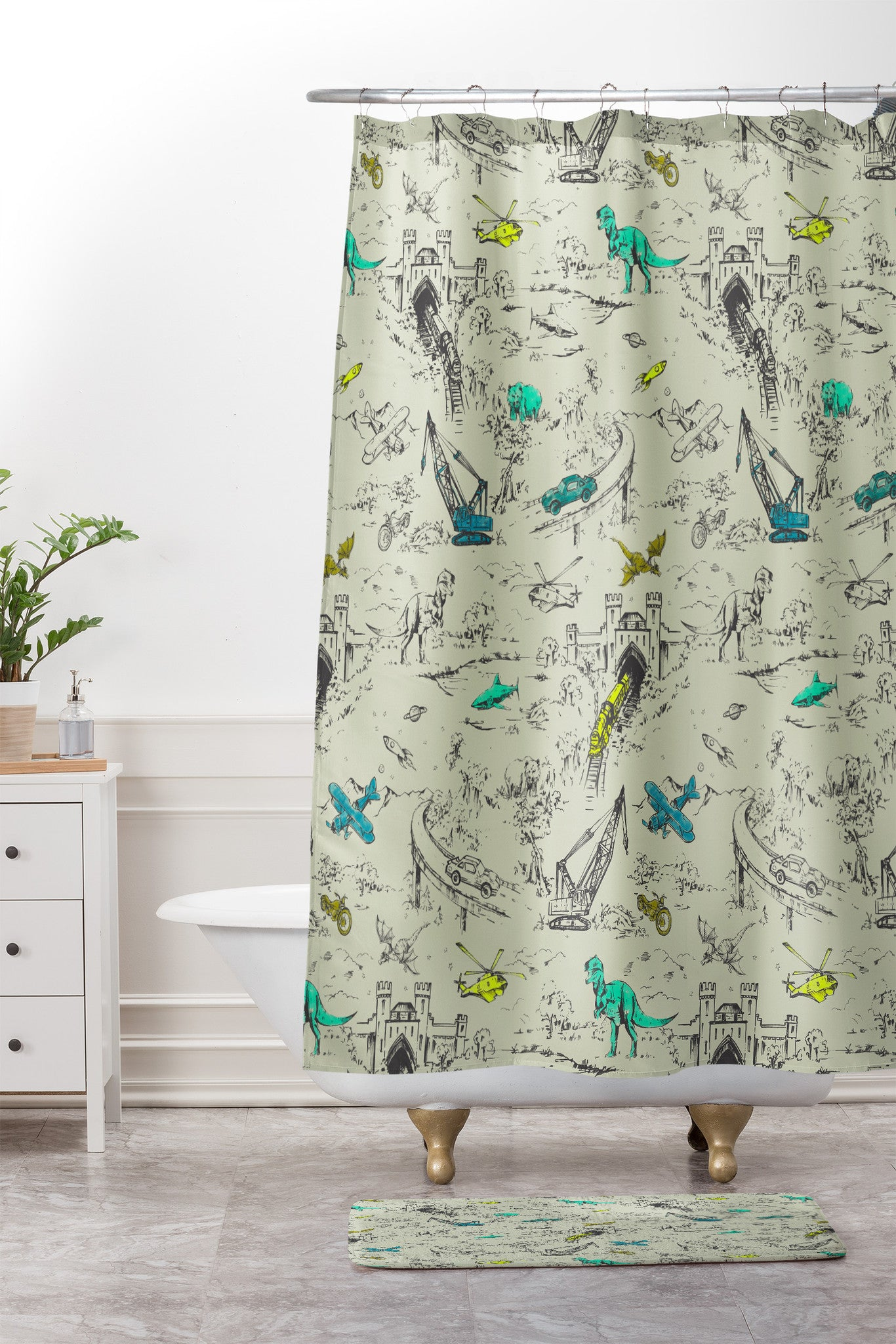 Adventure Toile Shower Curtain And Mat By Pattern State