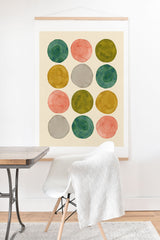 Pauline Stanley Watercolor Dots Pink and Green Art Print And Hanger