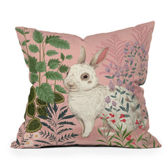 Pimlada Phuapradit Backyard Bunny Throw Pillow