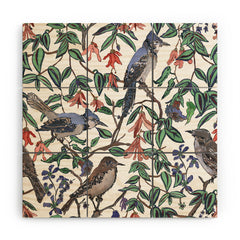 Rachelle Roberts Blue Bird Viney Leaf Wood Wall Mural