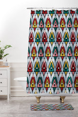 Raven Jumpo Abstract Ornaments Shower Curtain And Mat