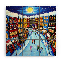 Renie Britenbucher Christmas Shoppers Wood Wall Mural