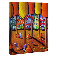 Renie Britenbucher Kids Raking Leaves Art Canvas