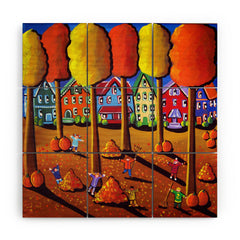 Renie Britenbucher Kids Raking Leaves Wood Wall Mural