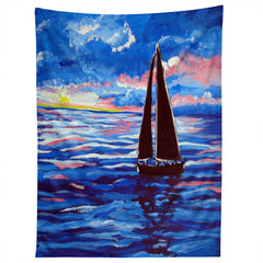 Renie Britenbucher Pink Sunset Sail Tapestry