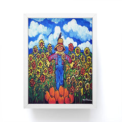 Renie Britenbucher Scarecrow and Pumpkins Framed Mini Art Print