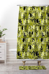 Renie Britenbucher Yellow Green Neighborhood Shower Curtain And Mat