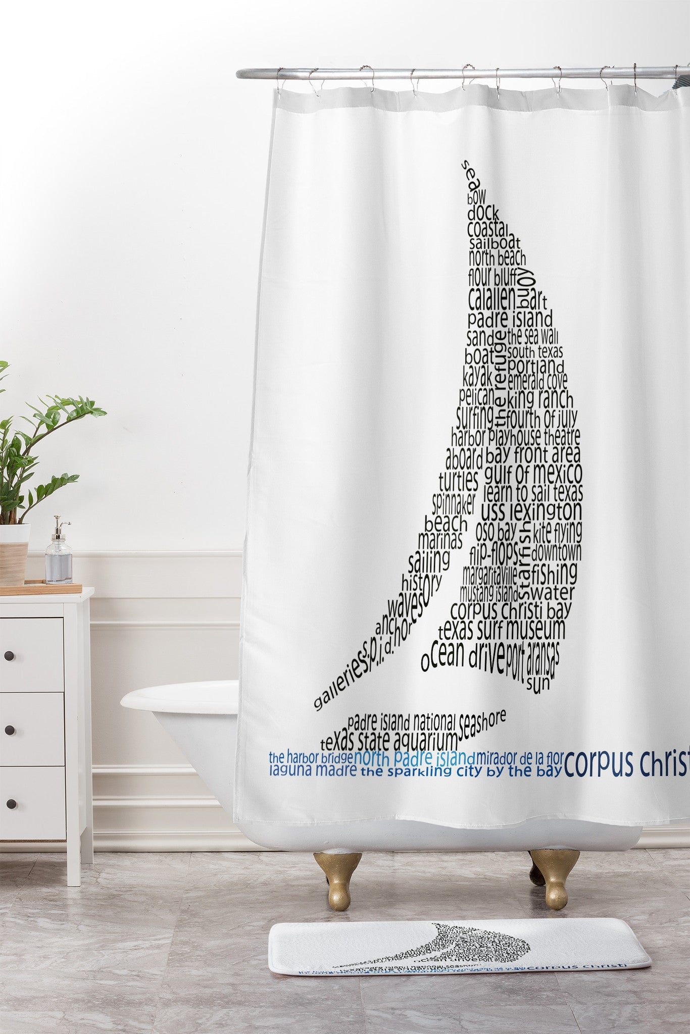 Corpus Christi Sailboat Shower Curtain And Mat By Restudio Designs