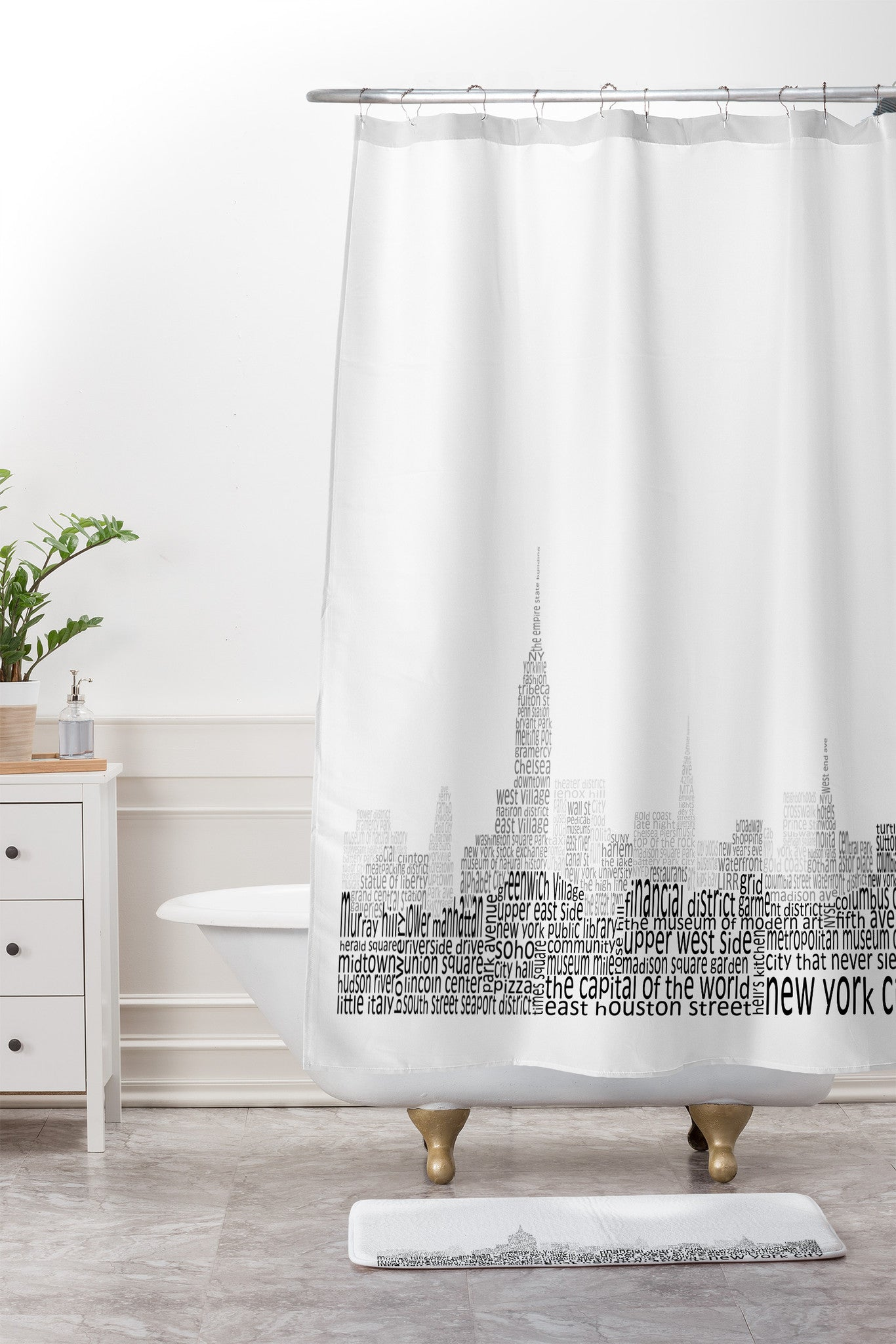 Restudio Designs New York Skyline 1 Shower Curtain And Mat