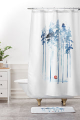 Robert Farkas Sleeping in the woods Shower Curtain And Mat