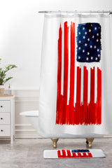 Robert Farkas Stars And Stripes Shower Curtain And Mat