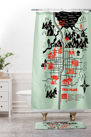 JEmail Us About This Product DENY Robert Farkas Twin Peaks Map Shower Curtain And Mat 15400