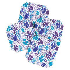 Rosie Brown Blue Spring Floral Coaster Set