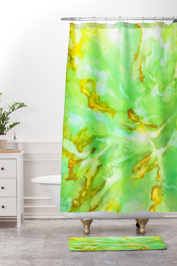 Neon Sea Coral Shower Curtain And Mat Rosie Brown