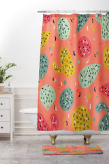 Sam Osborne Sunset Cactus Party Shower Curtain And Mat