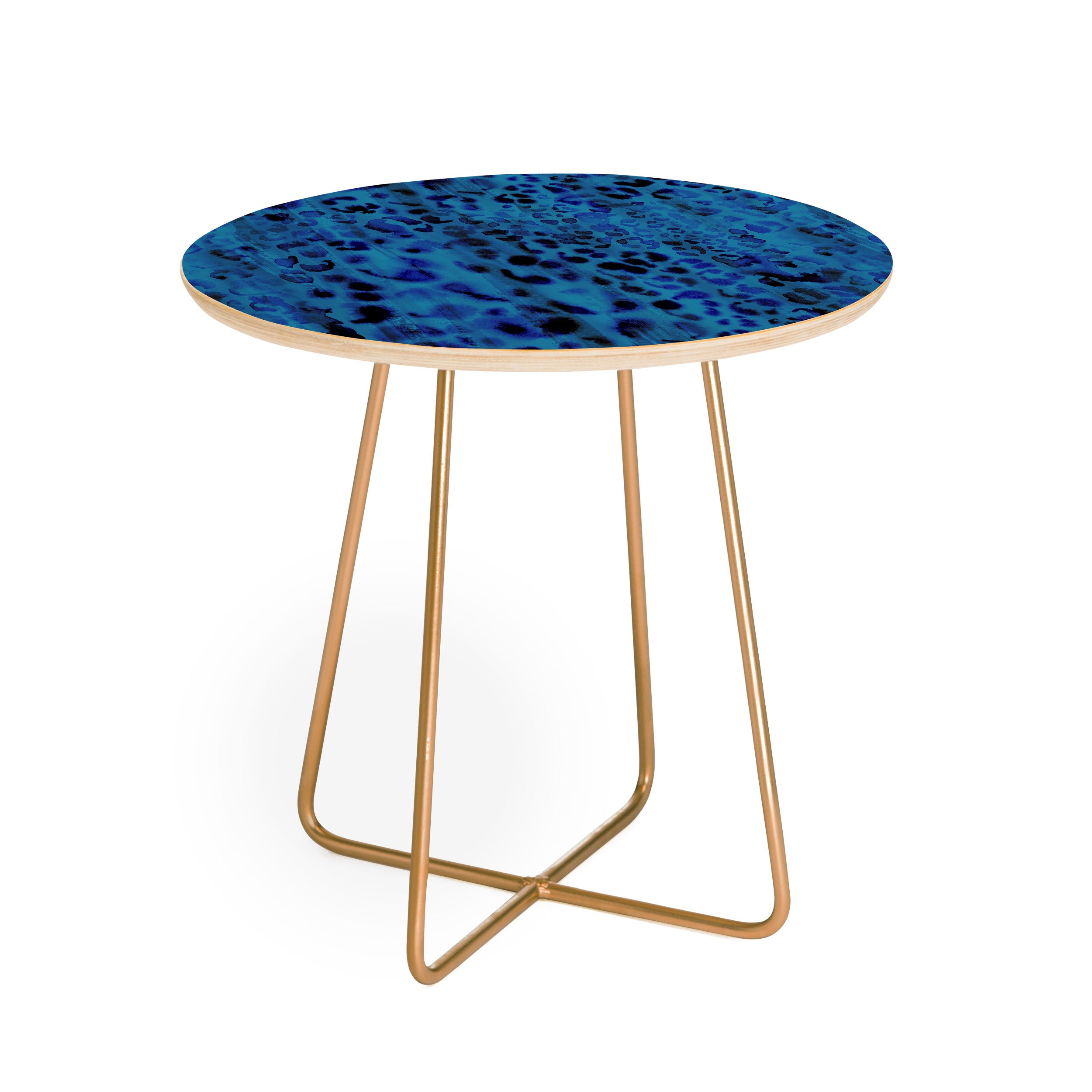 Schatzi Brown Jungle Cat Blue Round Side Table
