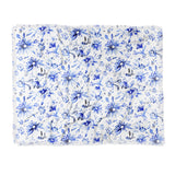 Schatzi Brown Lovely Floral White Blue Throw Blanket