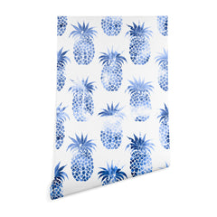 Schatzi Brown Pineapples Blue Wallpaper