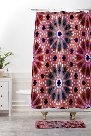 Schatzi Brown Tangier Tile Red Shower Curtain And Mat