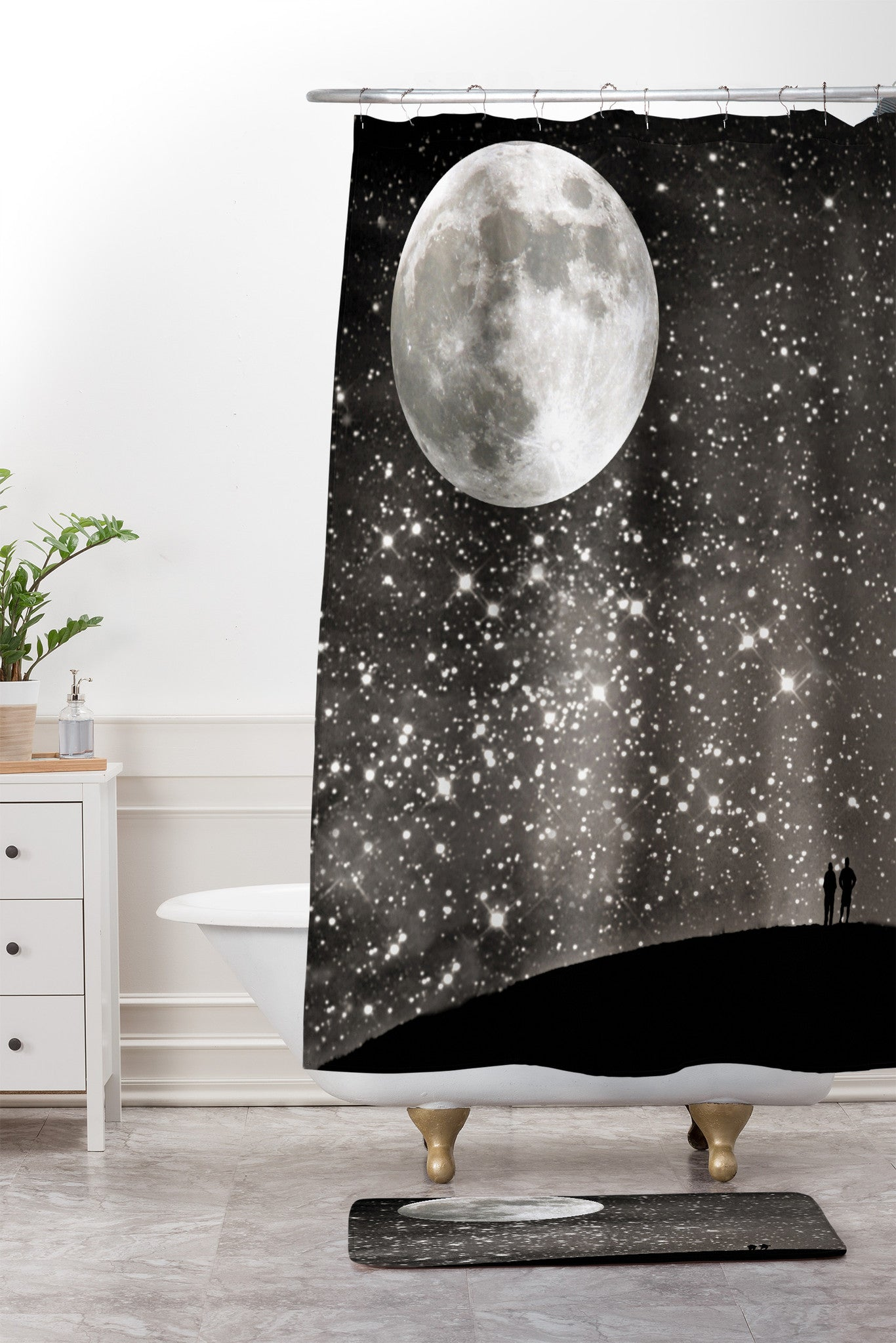 Love Under The Stars Shower Curtain And Mat Shannon Clark