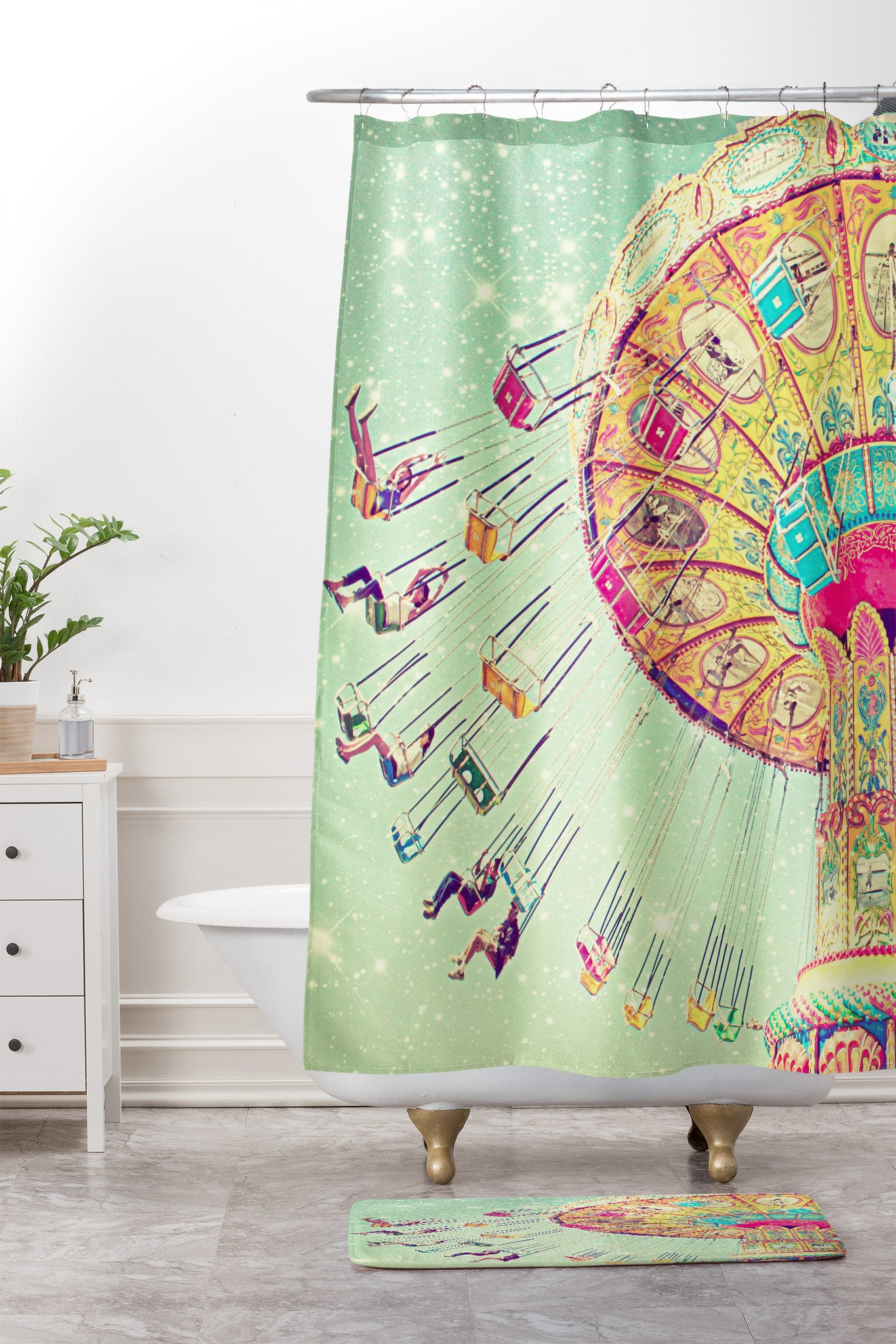 Shannon Clark Swinging Through Stars Shower Curtain And Mat