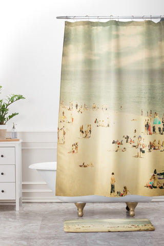 Vintage Beach Shower Curtain And Mat Shannon Clark