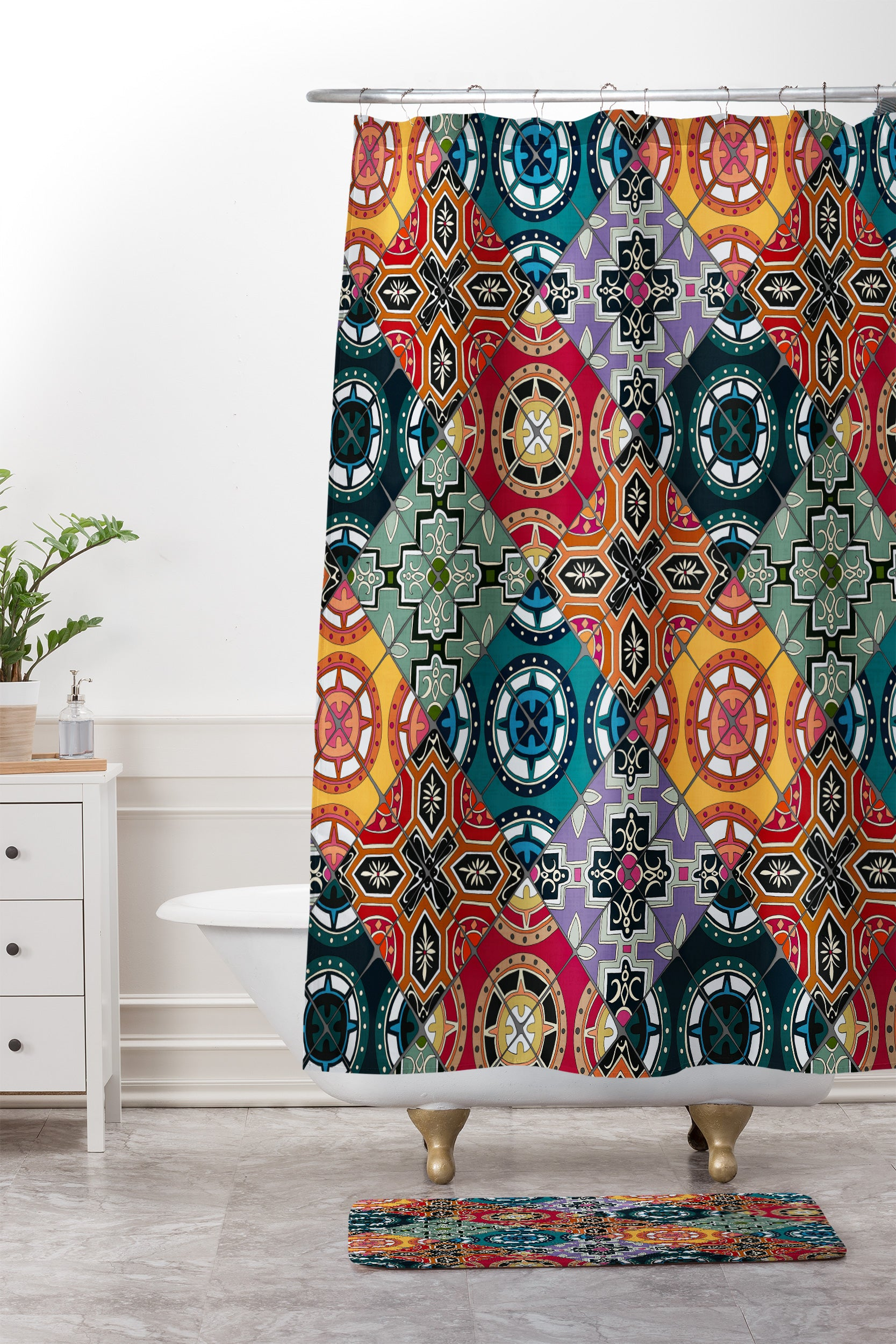 Sharon Turner DESEO BOLD Spanish Tile Shower Curtain And Mat