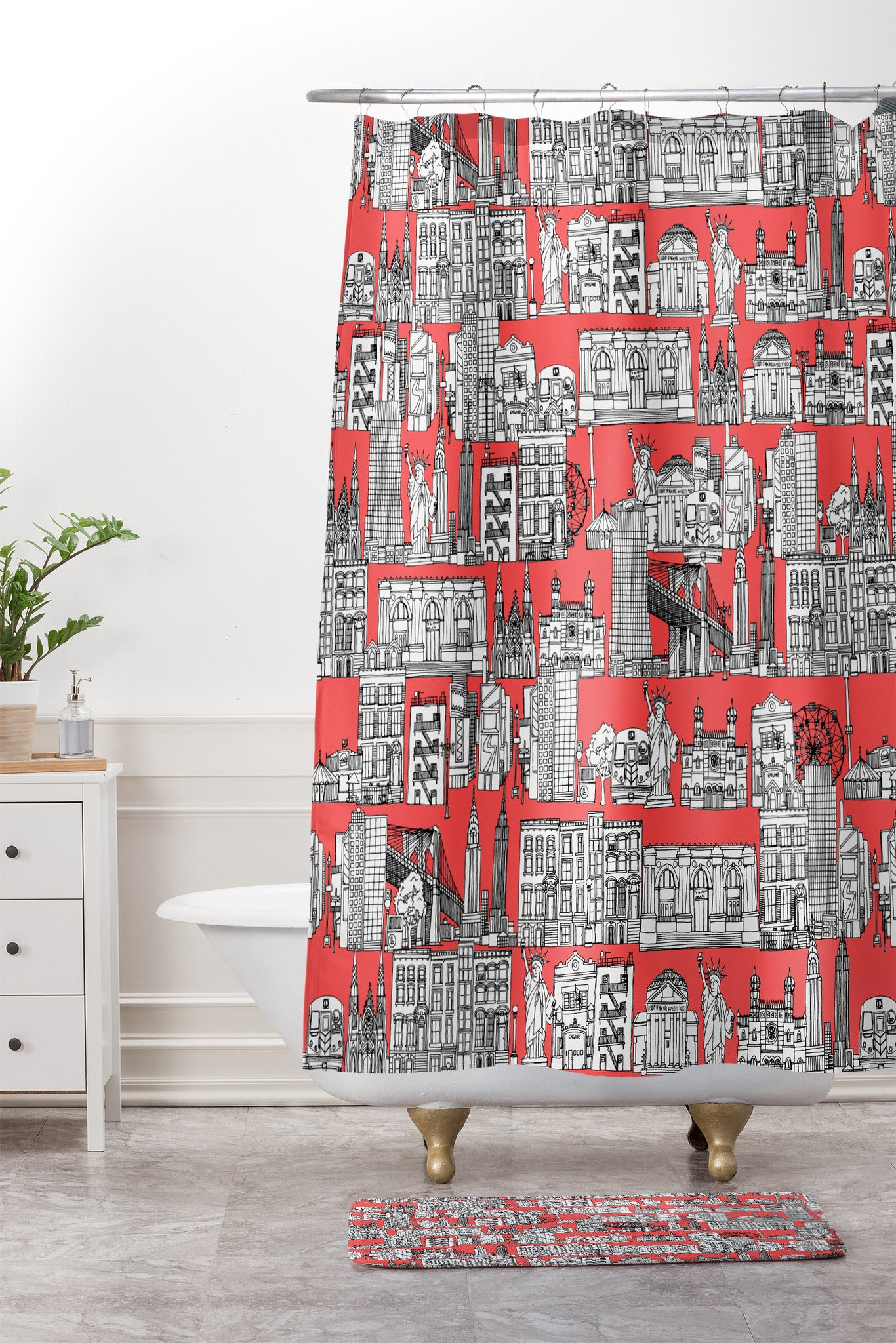 New York Coral Shower Curtain And Mat By Sharon Turner
