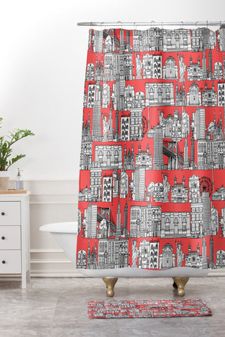 New York Coral Shower Curtain Sharon Turner