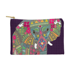 Sharon Turner Painted Elephant Purple Pouch