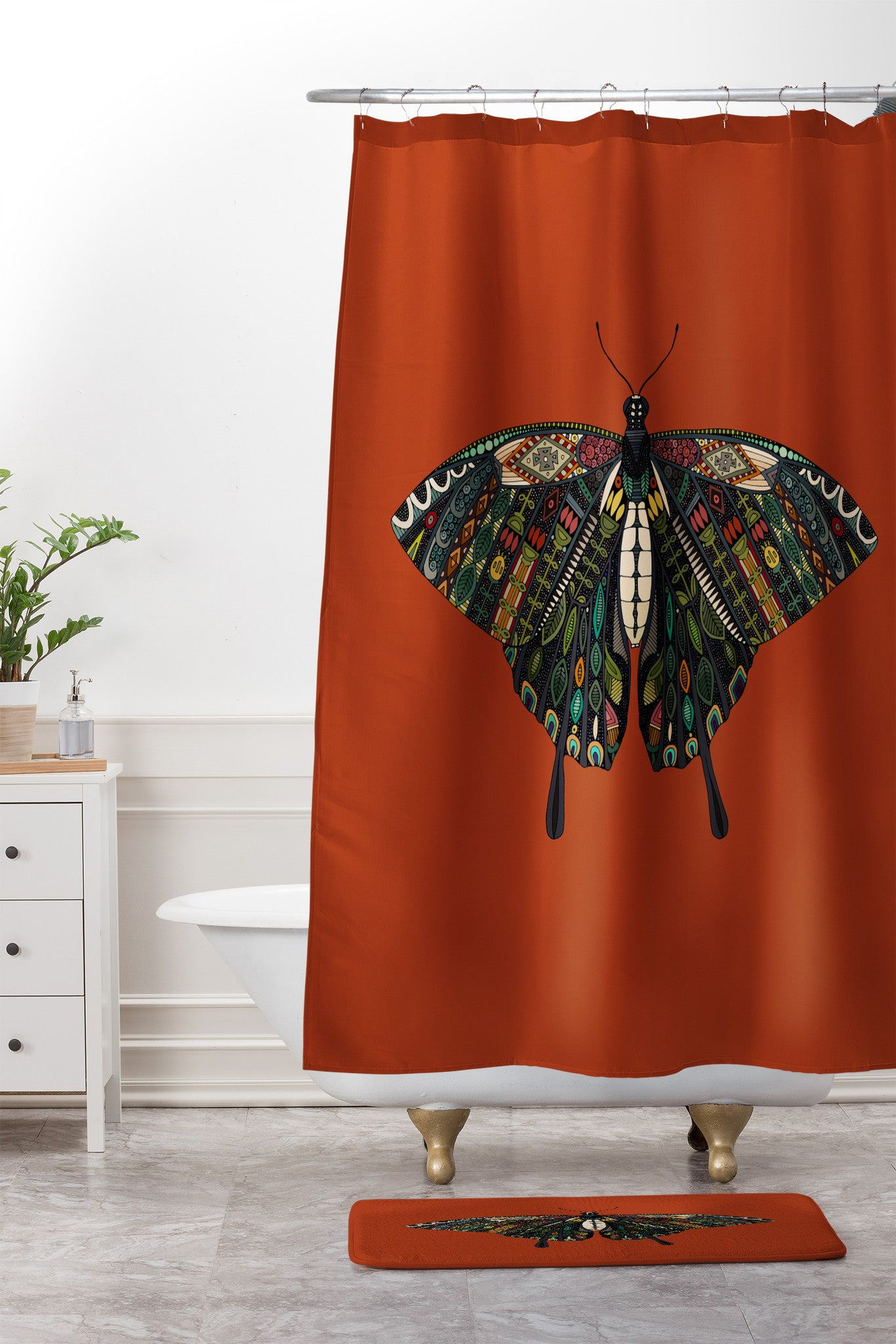 Sharon Turner swallowtail butterfly terracotta Shower Curtain And ...