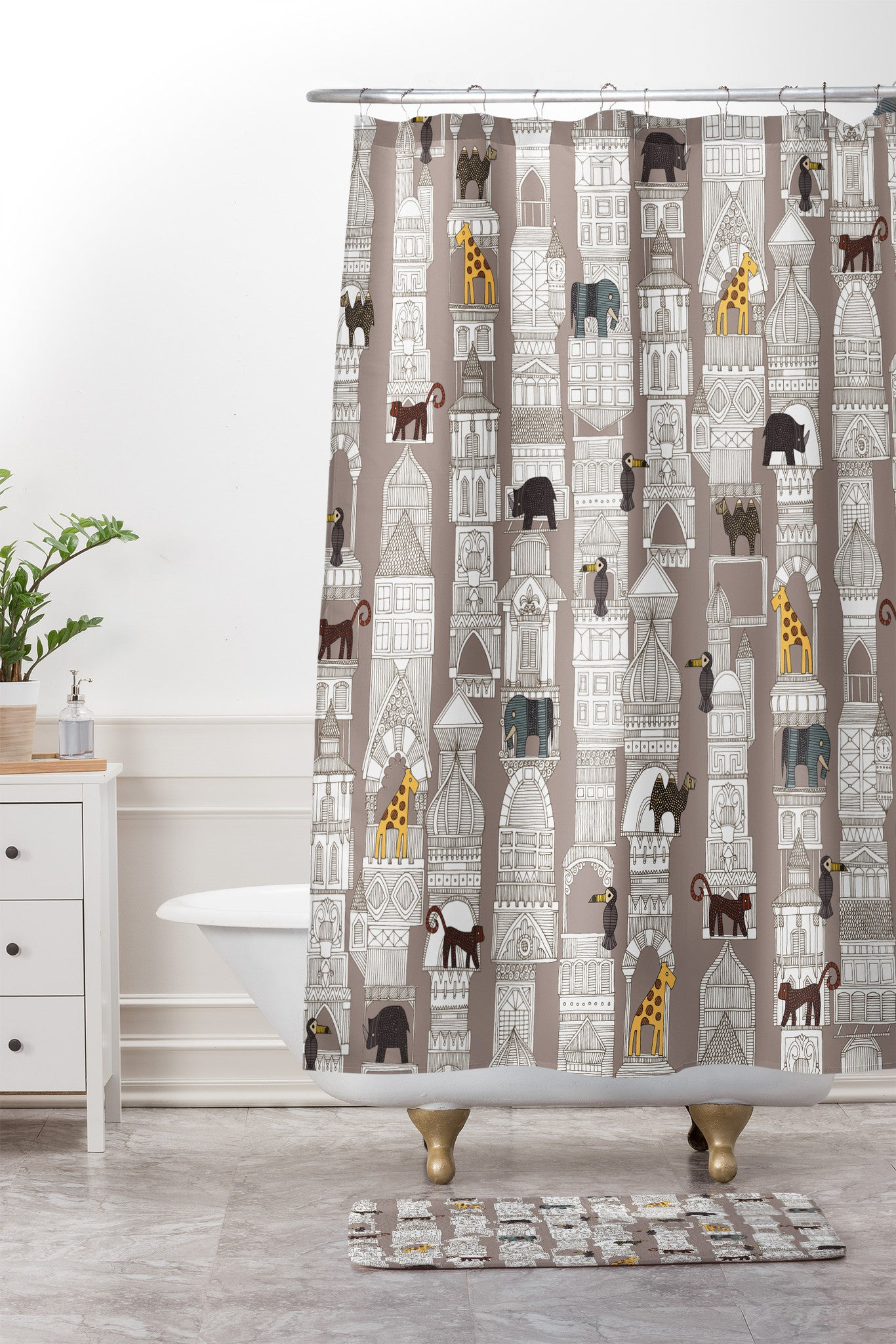 Sharon Turner Urban Jungle Pebble Shower Curtain And Mat