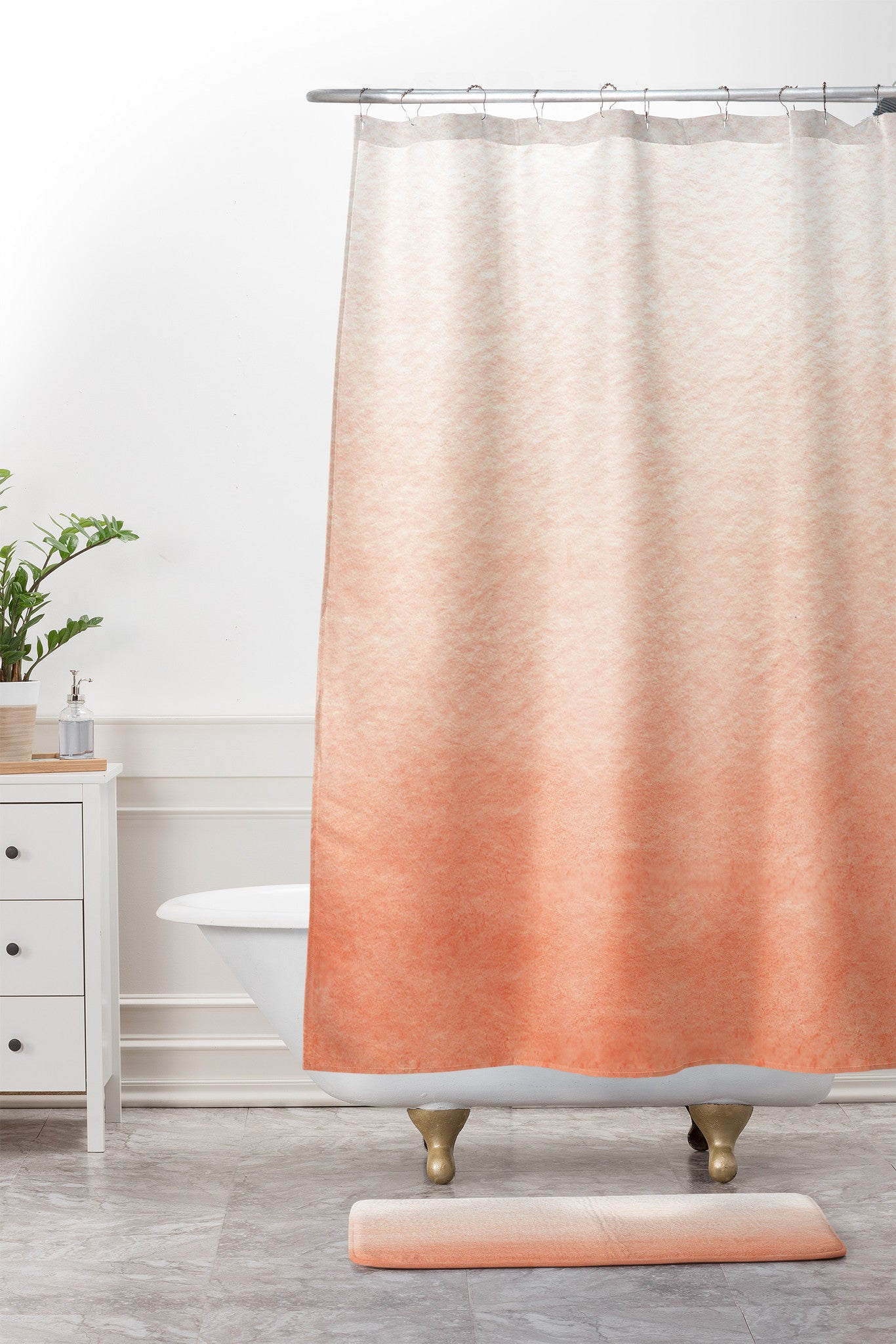 Peach Ombre Shower Curtain And Mat Social Proper